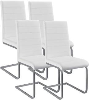 4er Set Freischwinger Stuhl Vegas | Kunstleder Bezug + Metall Gestell | weiß