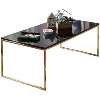 Couchtisch 'RAVI' 120 x 45 x 60 cm, Metall Holz schwarz/gold