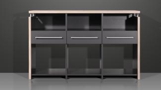 Kommode, Aktenschrank, Schreibtischverlängerung für Bürotisch 'DUO' anthrazit Rosales, ca. 123 cm