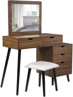 Woltu Schminktisch-Set Dunkelbuche mit 2 Schubladen, Spiegel & Nachttisch