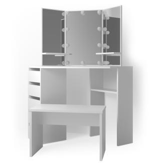 Vicco 'Arielle' Eckschminktisch, Weiß, inkl. Sitzbank und LED-Lichterkette