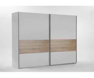 Wimex 'Bert' Kleiderschrank, Schwebetürenschrank, Weiß/Eiche Sägerau Dekor, ca. 225 cm