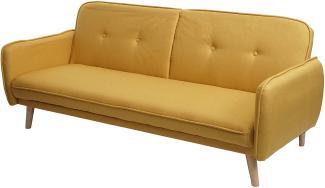 Schlafsofa HWC-J18, Couch Klappsofa Gästebett Bettsofa, Schlaffunktion Stoff/Textil ~ gelb