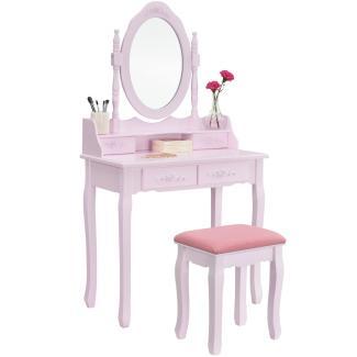 Juskys Schminktisch Mira | Frisiertisch mit Spiegel, Hocker & 4 Schubladen | rosa | Landhausstil | MDF Holz | Mädchen Kinder Kosmetiktisch