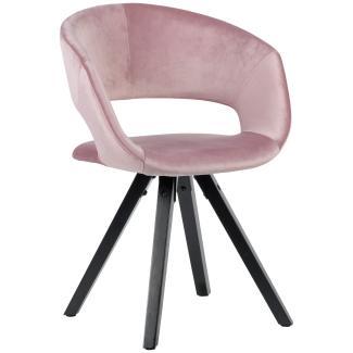 Esszimmerstuhl mit schwarzen Beinen Retro rosa