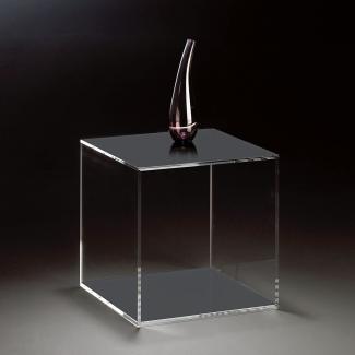 Hochwertiger Acryl-Glas Würfel, klar / dunkelgrau , 35 x 35 cm, H 35 cm, Acryl-Glas-Stärke 8 mm