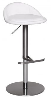 Barstuhl Edelstahl höhenverstellbare Sitzhöhe 54-79 cm weiß