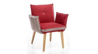 Armlehnstuhl GENUA 1 Stuhl Stoff rot beige mit Kaltschaum