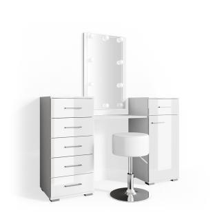 Vicco 'Zoe' Schminktisch, Weiß Hochglanz, inkl. Hocker und LED-Lichterkette, mit Spiegel
