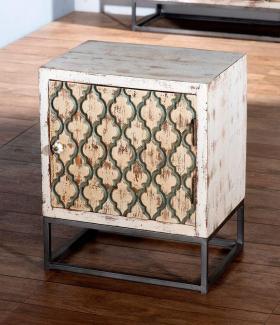 Sit Möbel Mahal Nachtkommode antikweiß mit beige/schwarzer Front