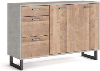 Vicco Kommode Riccardo Grange Oak/Monolith 3 Schubladen