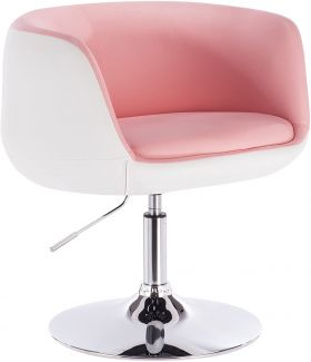 Barsessel aus Kunstleder 2-farbig Modell Kevin rosa-weiß