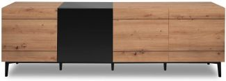 TV-Lowboard Nola in Eiche Artisan und schwarz 200 x 65 cm