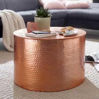 Couchtisch RAHIM 61 x 40,5 x 61 cm Aluminium Beistelltisch orientalisch rund Kupfer