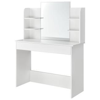 Juskys Schminktisch Bella – Kosmetiktisch 108 x 40 x 140 cm in Weiß – Frisiertisch aus Holz mit großem Spiegel, großer Schublade & 4 Ablagefächer