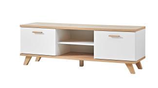 Lowboard 'OSLO', TV-Board in weiß matt und Sanremo Eiche, ca. 192cm