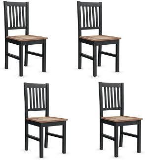 COSTWAY 4er-Set Esszimmerstühle Holz, Vintage, schwarz/braun