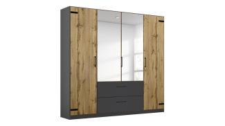 Rauch BUTTE Kleiderschrank 4-trg. Eiche grau-metallic Spiegel 181 cm