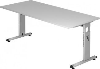 Schreibtisch OS19 C-Fuß 180x80cm Grau Gestellfarbe: Silber