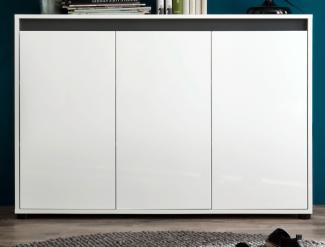Sideboard 1 SOL Anrichte Kommode in weiß Hochglanz Lack grau Alteiche