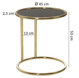 Design Couchtisch, Glas ø 45cm schwarz/gold