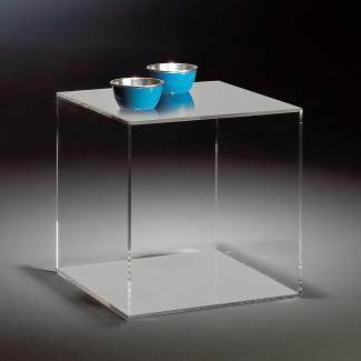 Beistelltisch, Acryl-Glas Würfel, klar/hellgrau