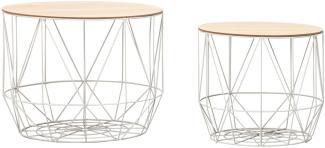 Design Beistelltisch mit Körben 2er Set, weiß