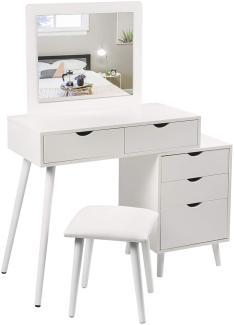 Woltu Schminktisch-Set weiß mit 2 Schubladen, Spiegel & Nachttisch