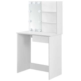 Juskys Schminktisch Jenna – Kosmetiktisch 75 x 40 x 135 cm Weiß – Frisiertisch aus Holz mit Spiegel, LED-Beleuchtung, 1 Schublade & 2 Ablagefächer