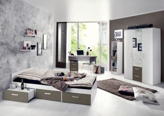 Storado 'Berlin' 7-tlg. Jugendzimmer-Set weiß matt/lava
