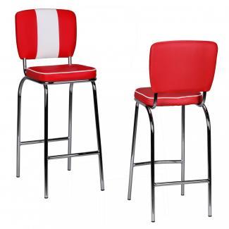 2er Set Barhocker KING American Diner 50er Jahre Retro rot/weiß