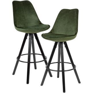 2er Set Barhocker Samt / Massivholz grün