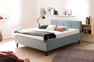 Polsterbett Amelie - Stoff Eisblau, Holzfüße Graphit 140x200cm