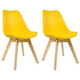 Esszimmerstühle 2er-Set Holzbeine Lisa gelb