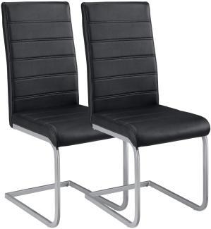 2er Set Freischwinger Stuhl Vegas Kunstleder Bezug + Metall Gestell | schwarz
