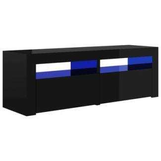 TV-Schrank mit LED-Leuchten Hochglanz-Schwarz 120x35x40 cm