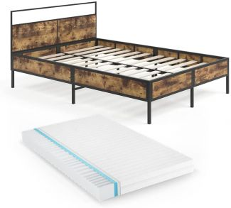 Vitalispa Bettgestell Doppelbett Metallbett Fyrk Holz-Optik 140x200 Matratze