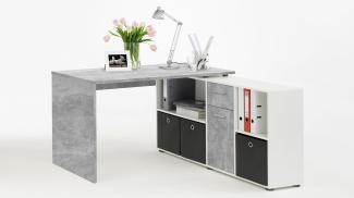 Schreibtisch 'LEXX' Beton-Optik/weiß