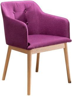 SalesFever Stuhl Esszimmerstuhl lila Holz, Strukturstoff L = 55 x B = 48 x H = 80 lila