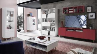 Innostyle 'Kazo' Wohnwand mit TV-Lowboard und Wandregal, modern rot matt