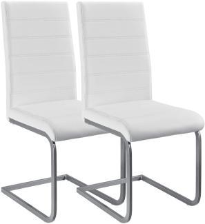 Juskys Freischwinger Schwingstuhl Vegas 2er Set – Esszimmerstuhl mit Metall-Gestell & Bezug aus Kunstleder – Moderner Küchenstuhl in Weiß