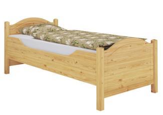 Erst-Holz Einzelbett, Seniorenbett, Kiefer Massivholz natur, extra hoch mit Rollrost, 100x200 cm