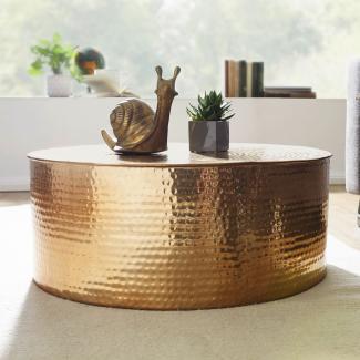 Couchtisch RAHIM 75 x 31 x 75 cm Aluminium Beistelltisch orientalisch rund