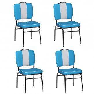 4er-Set Esszimmerstühle KING American Diner 50er Jahre Retro blau/weiß