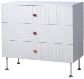 Phoenix Pattern Kommode mit 3 Schubladen mit Weiß / Kupfer