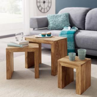 3er Set Satztisch Massiv-Holz Wohnzimmer-Tisch