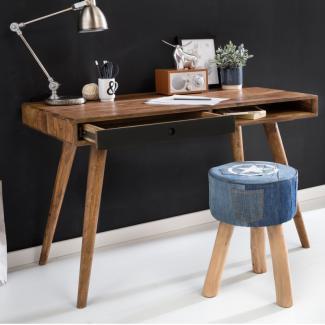 Schreibtisch RETRO 120 x 60 x 75 cm Massiv Holz Laptoptisch Sheesham Natur