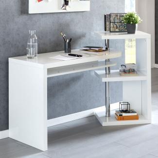 Design Schreibtisch MAURICE 145x50x94 cm Bürotisch mit Regal weiß Hochglanz