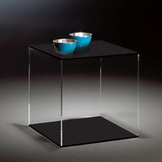 Beistelltisch, Acryl-Glas, Würfel, klar/schwarz 45 x 45 cm, H 45 cm, Acryl-Glas-Stärke 8 mm