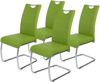 4er-Set 'Flora' Schwingstuhl, apfelgrün, Kunstleder